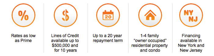 Rates as low as prime, Lines of Credit available up to $500,000 and for 10 years, Up to a 20 year repayment term